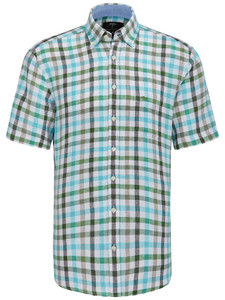 Fynch-Hatton Linen Combi Check Turquoise-Taupe