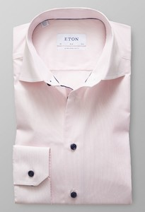 Eton Poplin Striped Sleeve 7 Pink