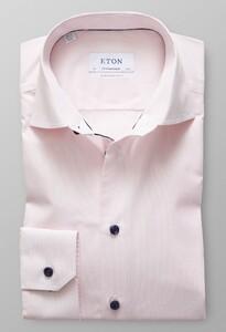 Eton Fine Striped Poplin Contrast Detail Roze