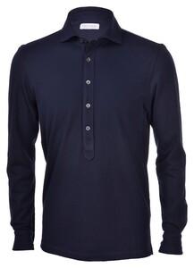 Gran Sasso Five-Button Piqué Polo Blue Navy
