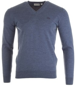 Lacoste Pure Wool V-Neck Denim Blue