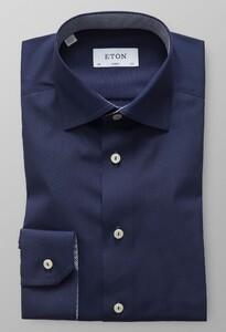 Eton Micro Contrast Uni Poplin Donker Blauw Melange