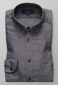 Eton Slim Cotton & Hemp Antraciet Melange