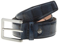 Lindenmann Crocodile Like Structure Belt Blauw