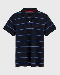 Gant Contrast Stripe Pique Rugger Avond Blauw