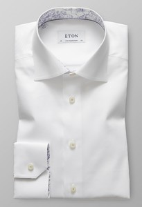 Eton Signature Twill Floral Detail Wit