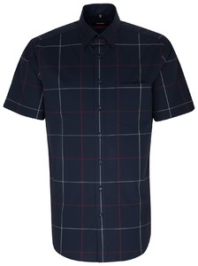 Seidensticker Large Check Modern Short Sleeve Rode Wijn