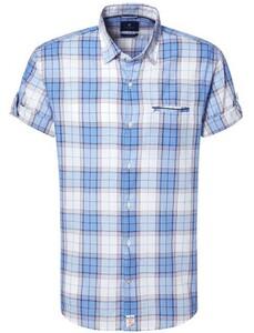 Pierre Cardin Multi Check Short Sleeve Wit-Blauw
