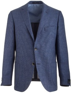 EDUARD DRESSLER Shaped Fit Linen Mix Shirt Jacket Midden Blauw