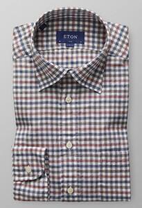Eton Gingham Check Flannel Donker Blauw