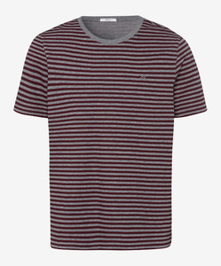 Brax Troy Striped T-Shirt Port Red