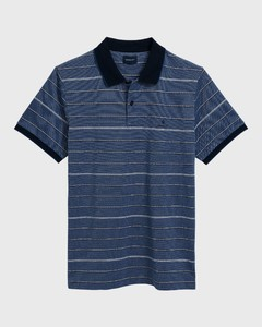 Gant 4 Color Oxford Stripe Polo Shirt Persian Blue