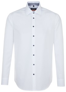 Seidensticker Poplin Uni Contrast Button White