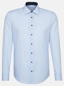 Seidensticker Uni Poplin Contrast Pastel Blauw