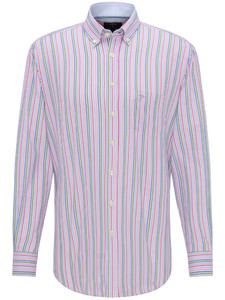 Fynch-Hatton Striped Button Down Crocus-Blue
