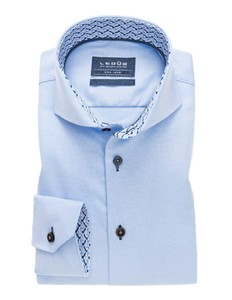 Ledûb Collar Contrasted Non-Iron Twill Licht Blauw