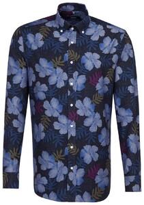 Seidensticker Poplin Floral Button Down Navy