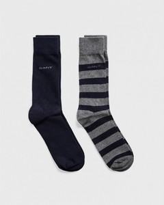 Gant 2Pack Barstripe And Solid Socks Antraciet