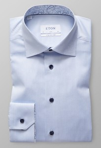 Eton Signature Twill Extra Long Sleeve Light Blue