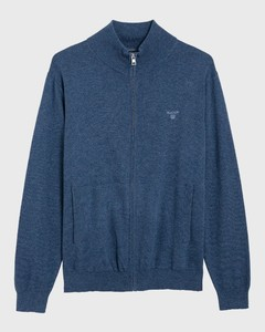 Gant Leight Weight Cotton Zipcardigan Indigoblue Melange