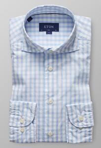 Eton Slim Check Licht Blauw