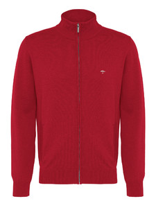 Fynch-Hatton Cardigan Zipper Superfine Cotton Ruby