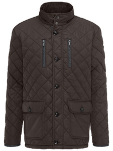 Fynch-Hatton Long Jacket Diamond Stitch Brown