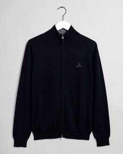 Gant Classic Cotton Zip Cardigan Evening Blue