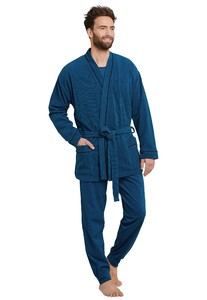 Schiesser City Life Bathrobe Short Royal Blue