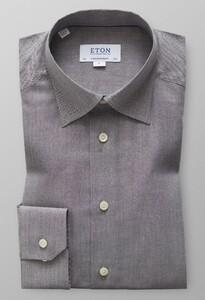 Eton Visgraat Flanel Shirt Midden Grijs