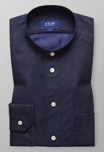 Eton Band Collar Shirt Avond Blauw