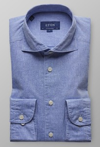 Eton Cotton Linen Shirt Sky Blue