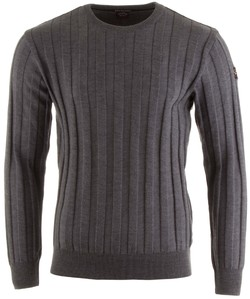 Paul & Shark Basic Merino Ton-Sur-Ton-Stripe Roundneck Mid Grey