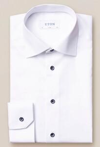 Eton Uni Contrast Button Signature Twill Wit