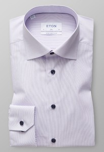 Eton Poplin Striped Sleeve 7 Paars Melange