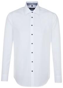 Seidensticker Uni Contrast Button White