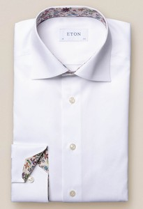 Eton Uni Twill Flower Detail Wit