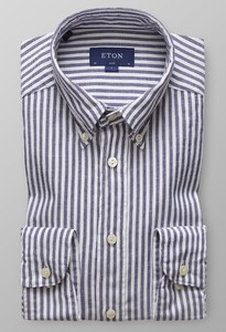 Eton Striped Slim Oxford Navy