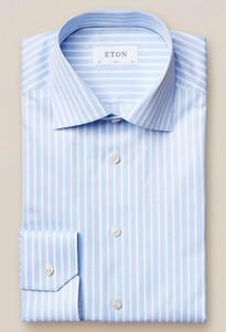Eton Bengal Stripe Signature Twill Licht Blauw