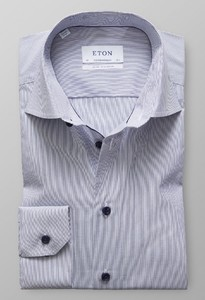 Eton Fine Striped Poplin Contrast Detail Dark Navy
