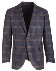 EDUARD DRESSLER James Shaped Fit Blue Wool Check Blauw-Bruin