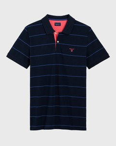 Gant 3 Color Piqué Short Sleeve Avond Blauw