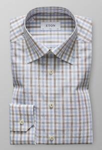 Eton Slim Button Under Check Diep Bruin