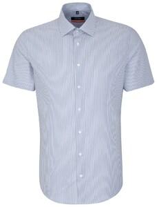 Seidensticker Short Sleeve Stripe Blauw