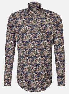 Jacques Britt Poplin Fantasy Multicolor Paisley Navy Blue