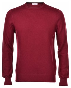 Gran Sasso Merino Extrafine Crew Neck Fashion Burgundy Red