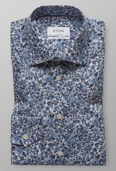 Eton Floral Poplin Extra Long Sleeve Diep Blauw