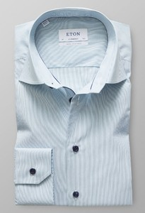 Eton Fine Striped Poplin Contrast Detail Dark Green