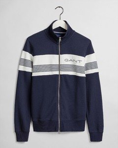 Gant Gant Stripe Sweat Zip Evening Blue