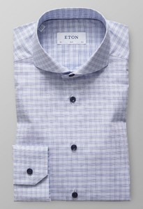 Eton Checked Twill Light Blue